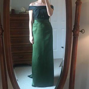 Off the shoulder, floor length dress.